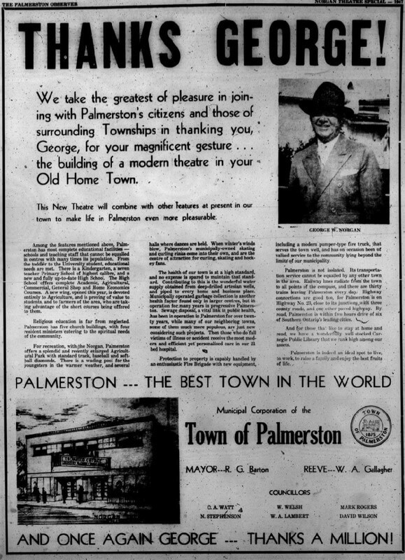 palmerston observer article norgan theatre opening 1947
