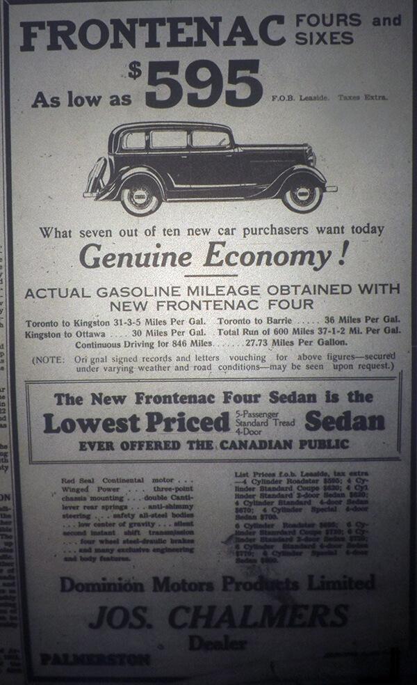 Frontenac car ad