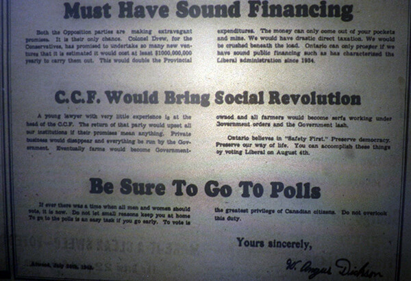 palmerston observer 1943 election ad