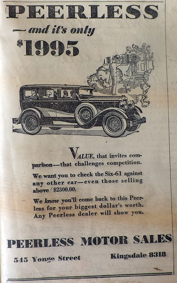 Peerless Motor Sales ad